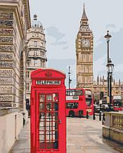 Картина по номерам Телефонная будка Биг-бен Лондон Великобритания (цветной холст) 40*50см Розпис по номерах