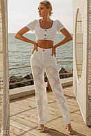 Брючный костюм с флористической вышивкой XS,S M L