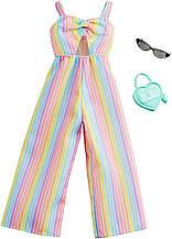 Одежда для Барби Barbie Clothes: Rainbow-Striped Jumpsuit, Plus 2 Accessories Dolls