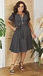 Женское летнее платье большого размера 48, 50, 52, 54, легкое, свободного кроя, со змейкой и поясом, Серое, фото 3