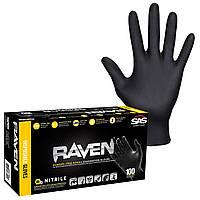 Нітрилові рукавички SAS Raven - чорні суперміцні , розмір XL 100 штук