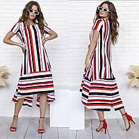Свободное летнее платье-трапеция в полоску из софта 35-341, фото 1