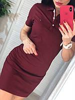 Бордовое спортивное платье с воротником поло