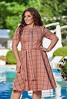 Женское летнее платье большого размера 48, 50, 52, 54, легкое, свободного кроя, со змейкой и поясом, Персиково