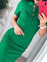 Зеленое спортивное платье с воротником поло