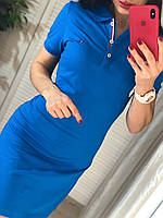 Синее спортивное платье с воротником поло