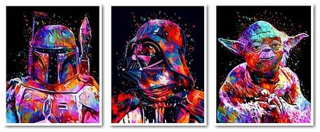 Картина модульная по номерам Babylon Триптих: Звездные войны Боба Фетт Дарт Вейдер Йода 50*120 см 3 модуля (в, фото 2