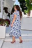 Женское летнее платье большого размера 50, 52, 54, 56, легкое, с оголенными плечами и цветочным принтом, фото 3