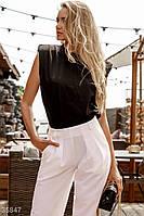 Стильные белые брюки свободного кроя XS,S,M,L