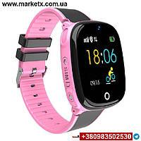 Цвет розовый. Модель HW11. Детские умные смарт часы, водонепроницаемые, GPS, с камерой.