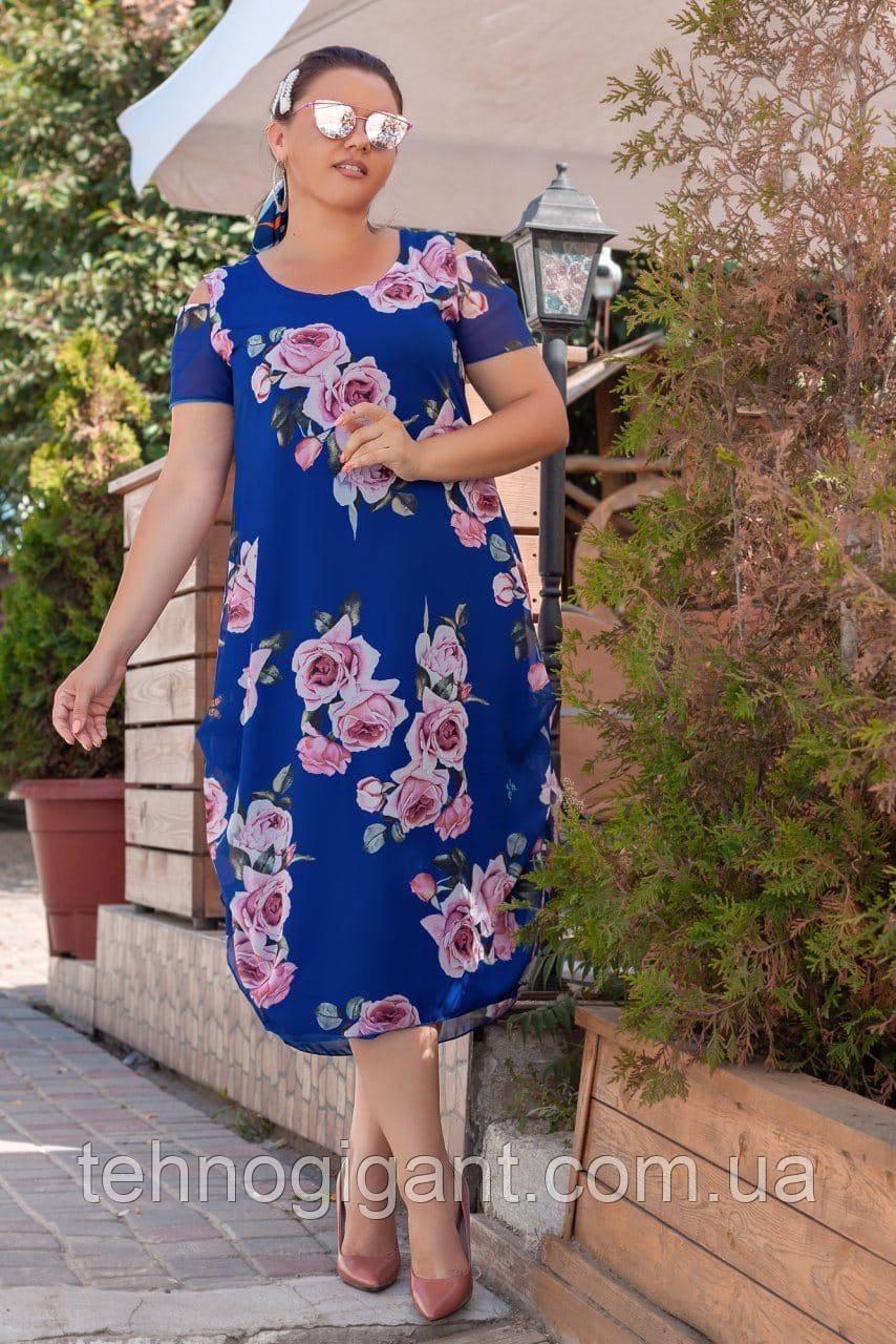 Нарядное летнее шифоновое платье больших размеров 50,52,54,56, Электрик с цветочным принтом