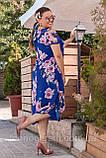 Нарядное летнее шифоновое платье больших размеров 50,52,54,56, Электрик с цветочным принтом, фото 5