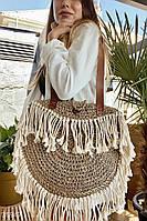 Стильная плетеная сумка с бахромой UN
