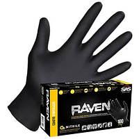 Нітрилові рукавички SAS Raven - чорні суперміцні , розмір L 100 штук