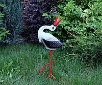 Аист малый с запрокинутым клювом - садовая фигура из керамики на металлических лапках (У)