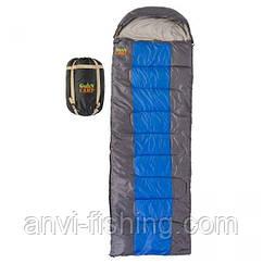 Спальник GreenCamp, одеяло, 450гр/м2, серо-синий