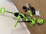 Трехколесный самокат беговел с Scooter 5в1 с родительской ручкой, сиденьем, бортиком, боковые колеса Зеленый, фото 6