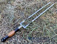 Двойной шампур ПРЕМИУМ, с деревяной ручкой