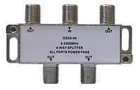 Делитель с пропуском питания Split GS 03-04 (четыре равноценных выхода, пропускает 5-2400 МГц)