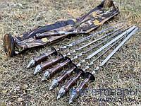 Набор шампуров КАБАНЫ, ручной работы (6 шт, вилка для снятия мяса + чехол тубус)