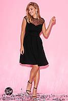 Вечернее чёрное летнее платье с сеткой