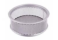 Підставка для скріпок та дрібниць металева (сітка) Optima, 1 відділення, срібна