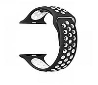 Силиконовый ремешок черный с белым Sport Nike+ Band для умных смарт часов Apple watch 38/40 mm