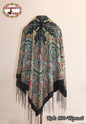 Павлопосадский чёрный платок Княжий, фото 2