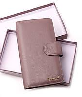 Женский кофейный кошелек клатч из натуральной кожи портмоне Cardinal кожаный женский кошелек