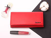 Кожаный женский красный кошелек портмоне Cardinal из натуральной кожи, клатч