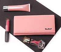 Кожаный женский розовый кошелек портмоне Cardinal на магните (клатч), женский кошелек из натуральной кожи