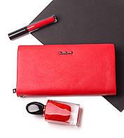 Красивый женский красный кошелек клатч из натуральной кожи портмоне Cardinal кожаный женский кошелек