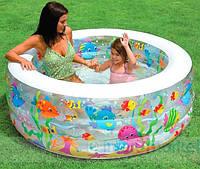 Надувной круглый детский бассейн для дома и дачи Intex Аквариум (58480) 152х56см