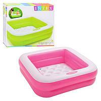 Детский квадратный надувной бассейн для дома Intex 57100, розовый