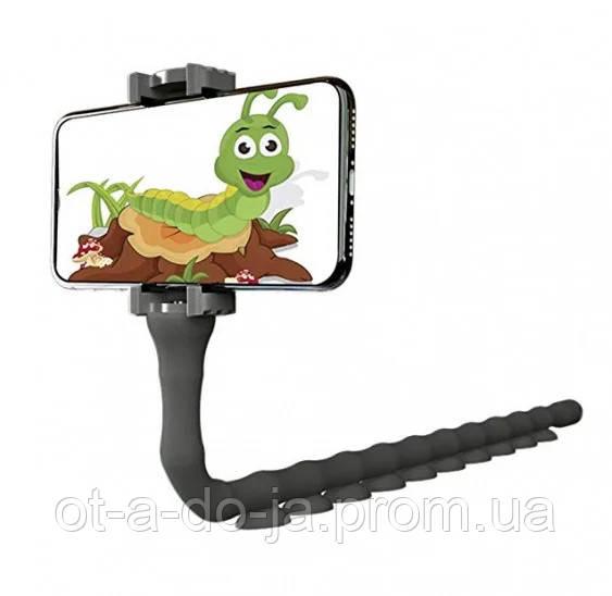 Держатель для телефона гибкий универсальный с присосками Cute Worm Lazy Holder черный