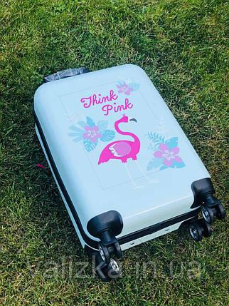Пластиковый чемодан с фламинго / Валіза пластикова з фламінго, фото 2