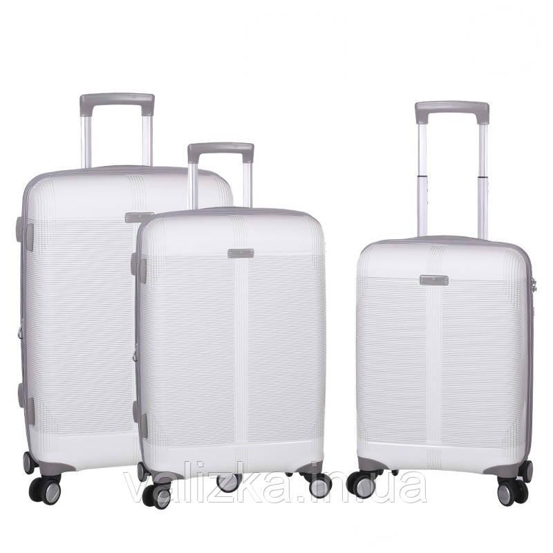 Комплект чемоданов из полипропилена белого цвета  Snowball 91303 Франция