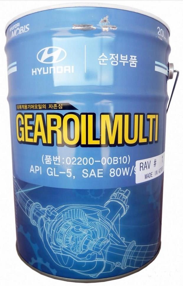 Масло трансмиссионное Hyundai Gear Oil Multi 80W-90, 20л 0220000B10  - купить со скидкой
