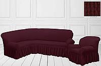 Чехол на угловой диван + кресло с оборкой, бордовый, Турция, фото 1