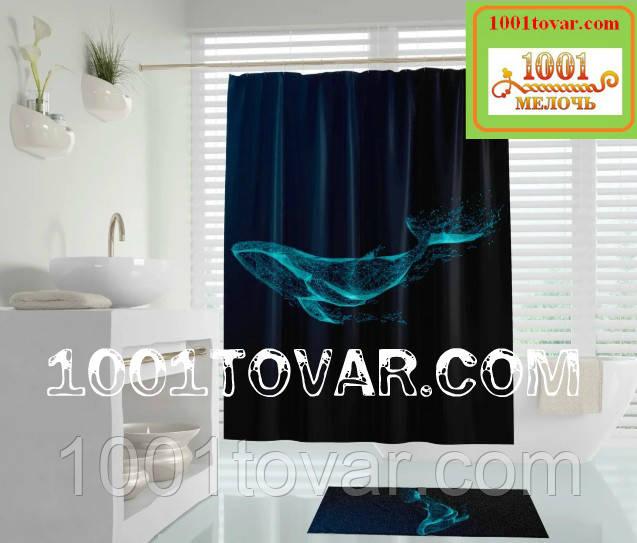 "Тканевая шторка для ванной комнаты из полиэстера ""Phantom"" (фантом кита) Tropik Home, размер 180х200 см Турция"