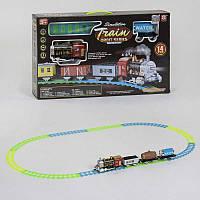 Железная дорога 3367-3366 на батарейках, поезд со звуком, светом прожектора и дымом, 14 деталей, в