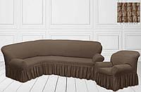 Чехол на угловой диван + кресло с оборкой, бежевый, Турция, фото 1