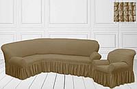 Чехол на угловой диван + кресло с оборкой, топленое молоко, Турция, фото 1