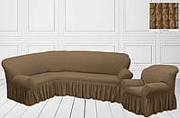 Чехол на угловой диван + кресло с оборкой, экрю, Турция, фото 1