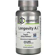 "Комплекс для довголіття Life Extension, GEROPROTECT ""Longevity A. I."" з маслом огірочника (30 гельових капсул)"