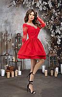 Платье для встречи Нового года из дорогого гипюра с пышной юбкой, 00205 (Красный), Размер 46 (L)
