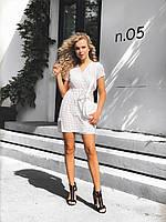 Молодежное платье в горошек с запахом на груди, 00292 (Белый), Размер 46 (L)