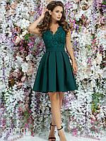 Женское платье с гипюром из габардина, 00101 (Зеленый), Размер 44 (M)