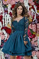 Коктейльное платье с пышной юбкой и гипюровым верхом, 00182 (Синий), Размер 46 (L)