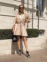 Платье с рукавом реглан и затягивающимся поясом на талии из костюмки, 00301 (Бежевый), Размер 44 (M)